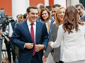 Greek Prime Minister Alexis Tsipras sports a necktie at the Zappeion