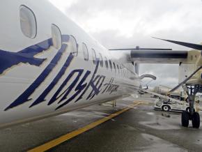 An Alaska-Horizon Air plane on the tarmac at the Seattle-Tacoma International Airport