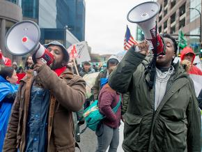 Workers and solidarity activists hit the streets of Chicago for $15 an hour and a union