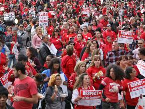 UTLA members gather for an All In for Respect rally
