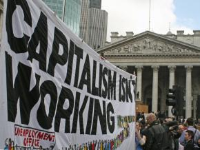 Protesters demand an alternative outside the 2009 G20 Summit in London