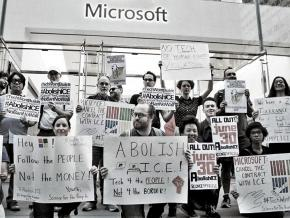 Marchers protest Microsoft's contract with ICE outside the company's flagship store in New York City