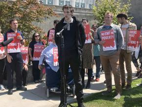 Emergency Medical Technicians rally for a living wage in Seattle