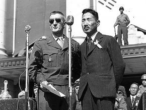 U.S. Gen. John Reed Hodge (left) speaks at the founding ceremony of the Republic of Korea
