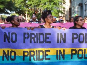Marching to demand an end to police presence at Pride events