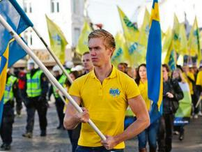 A demonstration of the far-right Sweden Democrats