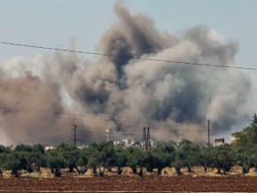 A Russian air strike targets the village of al-Muntar in Idlib