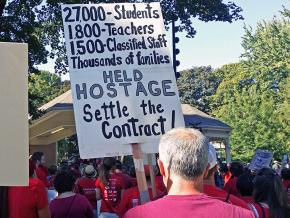 Teachers and their supporters rally in Vancouver, Washington