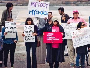 Pro-choice activists rally to defend Planned Parenthood in Los Angeles