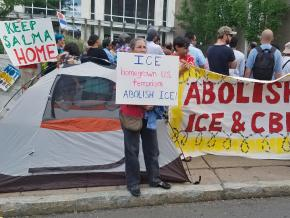 Protesters demand freedom for Salma Sikandar outside the ICE offices in Hartford, Connecticut