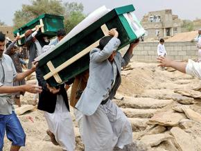 Funeral ceremony for some of the 40 children killed by a Saudi air strike in Yemen