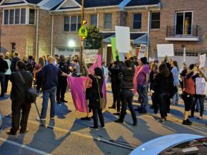 Supporters of choice defend a Planned Parenthood clinic in Rochester