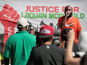 Will Calloway speaks at a rally demanding justice for Laquan McDonald