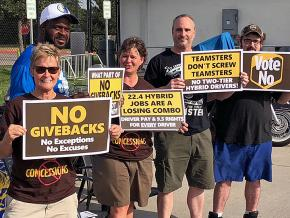 """Teamsters rally for a """"No"""" vote on a concessionary contract with UPS"""