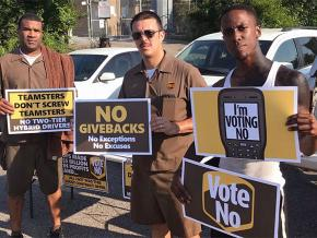 """Teamsters campaign for a """"no"""" vote on their new contract with UPS"""