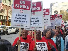 Striking hotel workers on the picket line in Oakland