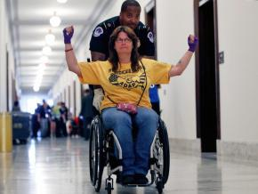 Protesters take direct action on Capitol Hill against the Republicans' agenda