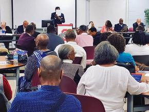 Community members attend a panel discussion on Ohio Issue 1 in Columbus