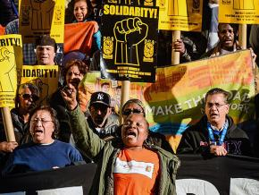 Labor activists march against gentrification and exploitation in New York City