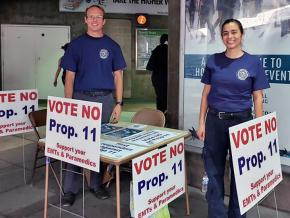 EMTs and paramedics campaign against Proposition 11 in California