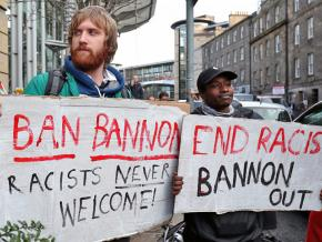 Protesters rally against Steven Bannon at the Oxford Union