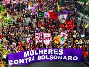 The front of a mass demonstration against Bolsonaro in Brazil