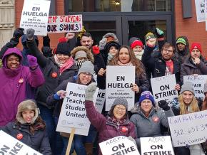Striking teachers on the picket line at an Acero charter school in Chicago