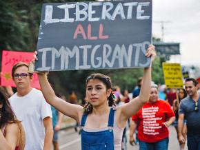 Protesters stand up to Trump's attacks on immigrants in Los Angeles