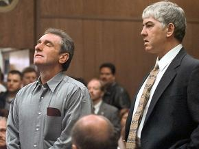 Dennis Fritz (left) and Ron Williamson are released from Oklahoma prison after their exoneration in 1999