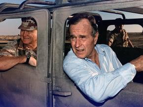 George H.W. Bush (right) and Gen. Norman Schwarzkopf in Saudi Arabia during the Gulf War