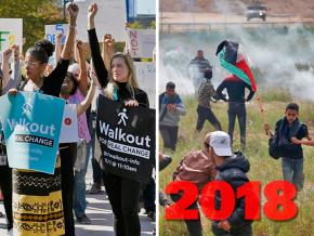 SW's year-end review, left to right: Google workers walk out; Palestinians flee a deadly Israeli assault