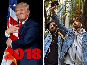 SW's year-end review, left to right: Trump shows his love; Chicago activists after the conviction of Jason Van Dyke