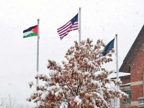 The Palestinian flag flies over the University of Vermont