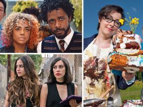 Clockwise from top left: Boots Riley's Sorry to Bother You, The Great British Baking Show and Melissa Barrera and Mishel Prada in Vida