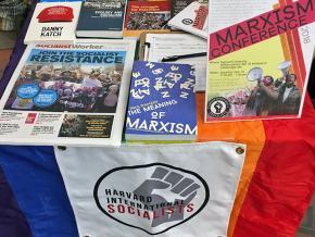 A table for the Harvard International Socialists