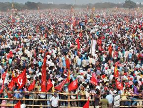 A mass rally organized by the Left Front in Kolkata
