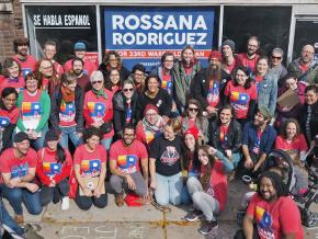 Supporters of Rossana Rodriguez outside her campaign office