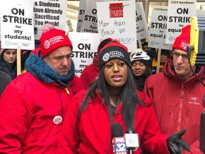 CTU Vice President Stacy Davis Gates speaks at a CICS teachers' rally