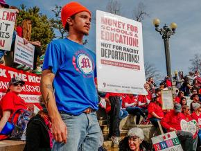 """Manasseh """"Nas"""" Oso at a teachers' rally in Denver"""
