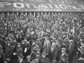 Shipyard workers walk off the job during the 1919 Seattle General Strike