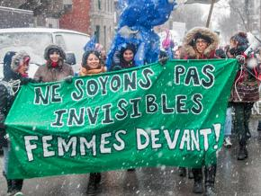 Students take to the streets on International Women's Day in Montreal