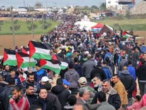 Gathering in Gaza for the huge Land Day march